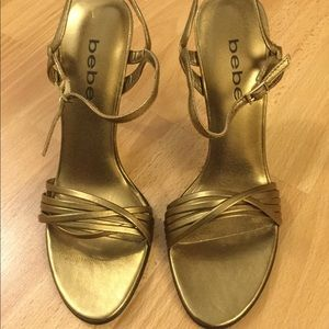 bebe Gold Strappy Heels Size 6.5